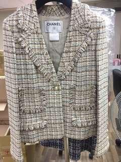 Chanel tweed cc logo Jacket Sz 38