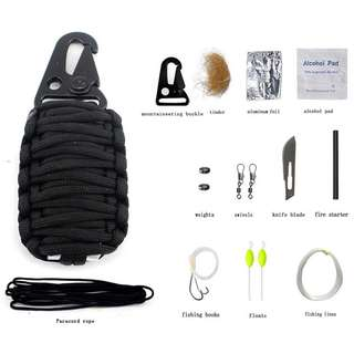 Perlengkapan Camping Survival Kit 12 in 1 - Black