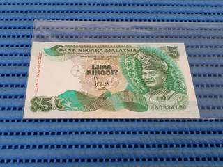 Bank Negara Malaysia $5 Five Lima Ringgit Note NH 0334189 Nice Prosperity Number Dollar Banknote Currency ( M60 with cross )