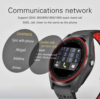 【2018 今期熱賣】V9 時尚彩屏 SIM卡 四頻 攝像頭 智能手表 帶攝像頭 藍牙智能手錶 通話清晰 双色表带 Smart Watch for Android