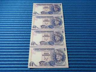 4X Bank Negara Malaysia $1 One Satu Ringgit Note DF 0504387 - 0504390 Run Dollar Banknote Currency ( Lot of 4 Pieces )