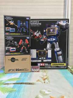 Transformers Takara Masterpiece MP-13 Soundwave with MP-15 + MP-16 6x Cassette Minions and OX Remix RMX-01 Jaguar