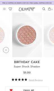 BNIP DISCONTINUED Colourpop Super Shock Shadow in BIRTHDAY CAKE ( Damaged but pressed back )