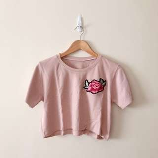 Pink Crop Top with Flower Patch