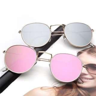 Women metal frame circle glasses