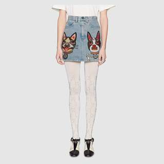 GUCCI INSPIRED EMBROIDERED DENIM SKIRT