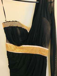 one shoulder mesh dress with gold bead detailing