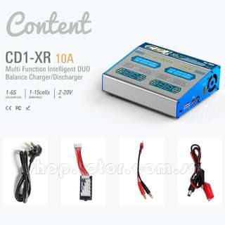 🚚 [Able to charge 2 batteries] EV-PEAK CD1-XR 2x100W 10A Multi Function Intelligent DUO Balance Charger or Discharger, AC/DC for charging 1-6S LiPo/LiHV/LiFe Battery, 1-15 cells NiMH/NiCD, 2-20V Pb Lead. Code: EV-PEAK-CD1-XR