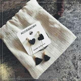 Love tassel earrings hoop korean set