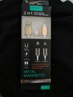 2 in 1 metal magnetic data cable