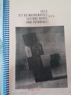 SRJC JC2 H2 Mathematics lecture notes and tutorials
