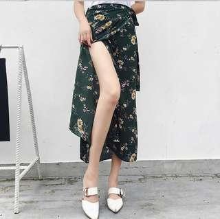 Floral tie-wrap skirt