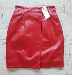 LOVER THE LABEL Warrior Genuine Leather Skirt Scarlet Red - Size 6 BNWT RRP$550