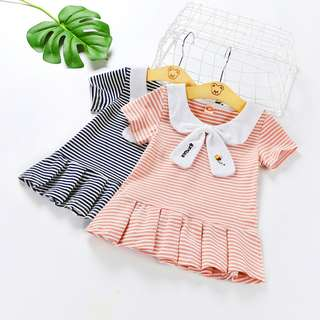 Girls Summer Doll Collar Casual College Wind Short-sleeved Pleated Dress