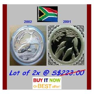 ♦ South Africa R2 Rand - 2001 & 2002 Marine Lifes. 2x 1 Oz+ Troy (999) Fine Silver Proof coins