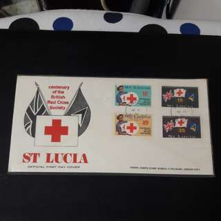 St Lucia Red Cross 1970 First Day Cover