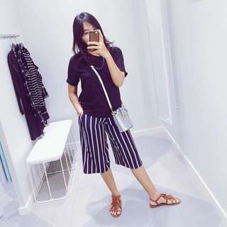 Stripes navy cullote