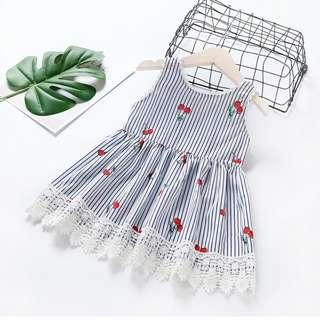 Girls Princess dress Korean Baby Stripe Lace Vein Skirt Tide