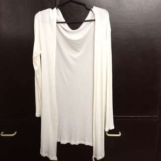 White knitted cardigan