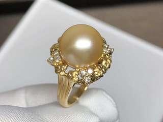日本金珍珠K18鑽戒