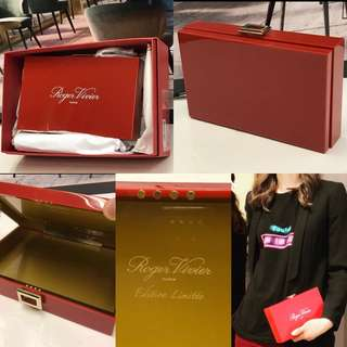 New Roger Vivier red hard case clutch
