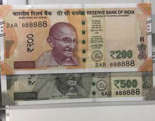 (888888)lucky Solid Number new indian 500 And 200 Rupees Unc Notes
