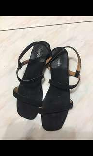 正韓 平底鞋 黑色 平底涼鞋