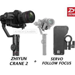 Brand New Zhiyun-Tech Crane-2 3-Axis Stabilizer With Servo Follow Focus Combo