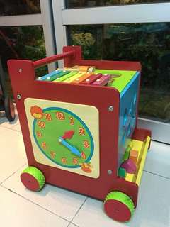 Wooden Pull Along Activity Cube/ Walker