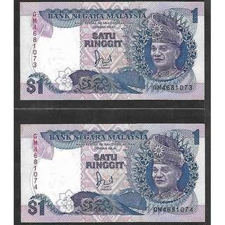 (LN 27) 1986-87 Malaysia 1 Ringgit x 2