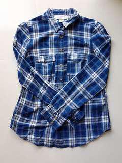 🚚 H&M Blue Flannel Checkered Shirt