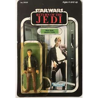 Han solo action figure card poster