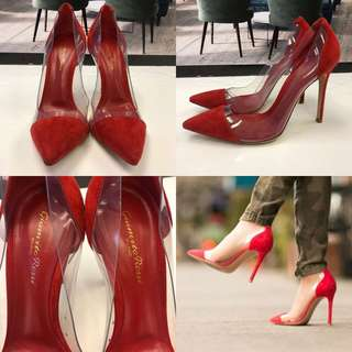 紅色高跟鞋 Gianvito Rossi red suede high heel size 38