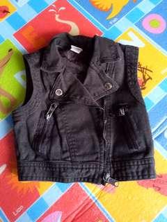 Black Denim Vest (Size 6)