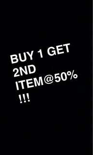 Buy 1 get 2nd item@50% #july50