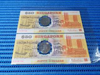 2X 1990 Singapore 25 Years of Independence $50 Commemorative Banknote A 348125 & 348126 Run