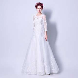 pre order white long sleeve bodycon mermaid prom bridesmaid wedding bridal gown dress  RB0699