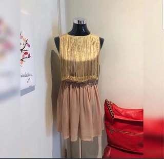 BOOHOO women's fringe casual dress in goldenrod