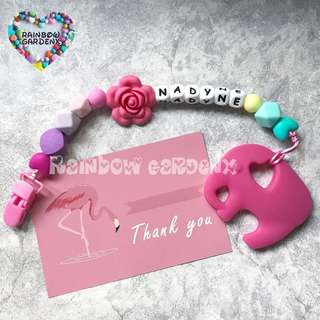 Handmade Pacifier Clip with customisation of name + Rose Elephant teether