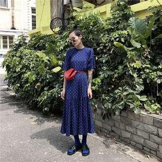 🚚 💙夏日寶藍色點點寬鬆棉洋裝💙