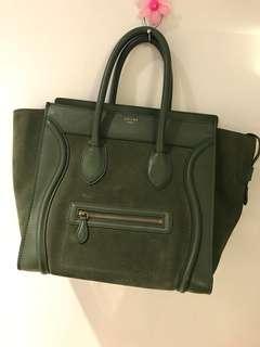 Authentic Celine Leather Suede Mini Luggage