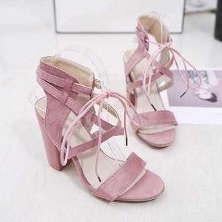📢Korean Block heels Sandals 💰630  Size 35-39 *g.k
