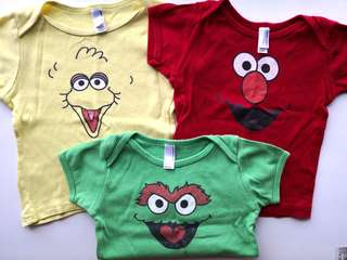 PRELOVED AMERICAN APPAREL Set of 3 Sesame Street Red Elmo, Green Oscar & Yellow Big Bird Baby T-shirt - in good condition