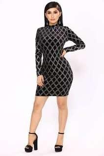 FashionNova fancy things velvet glitter dress size 2X