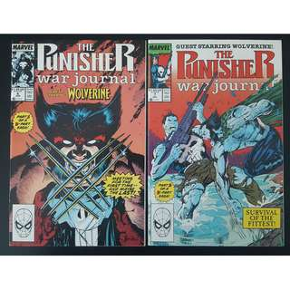 Punisher War Journal #6 & #7 (1988, 1st Series) Punisher VS Wolverine! Jim Lee Art! NUFF SAID!