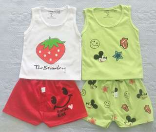 🚚 Cotton colourful mickey & fruit cartoon sleeveless (singlet) set for babies/kids/toddlers
