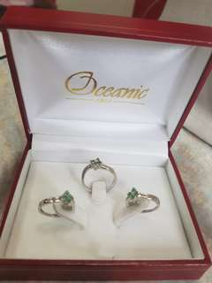 EMERALD (MAY) BIRTH STONE FOR SALE FOR 10K. PAIR OF EARINGS & RING SIZE 7