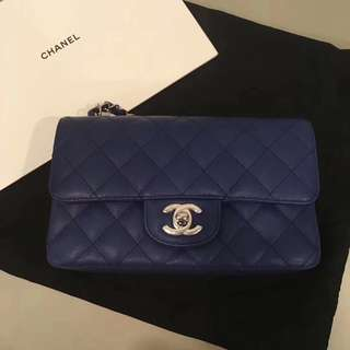 Chanel mini 20cm 藍色銀扣