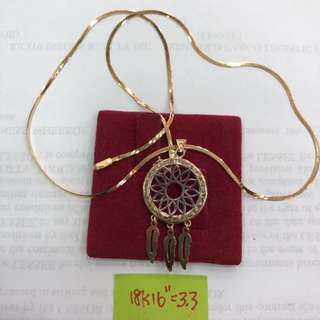 18K Saudi Gold Necklace with Pendant