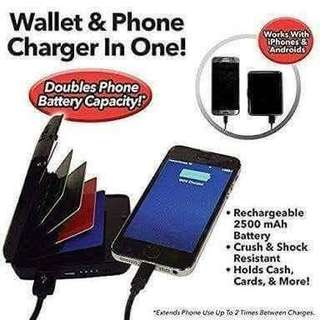 Wallet and phone charger in one